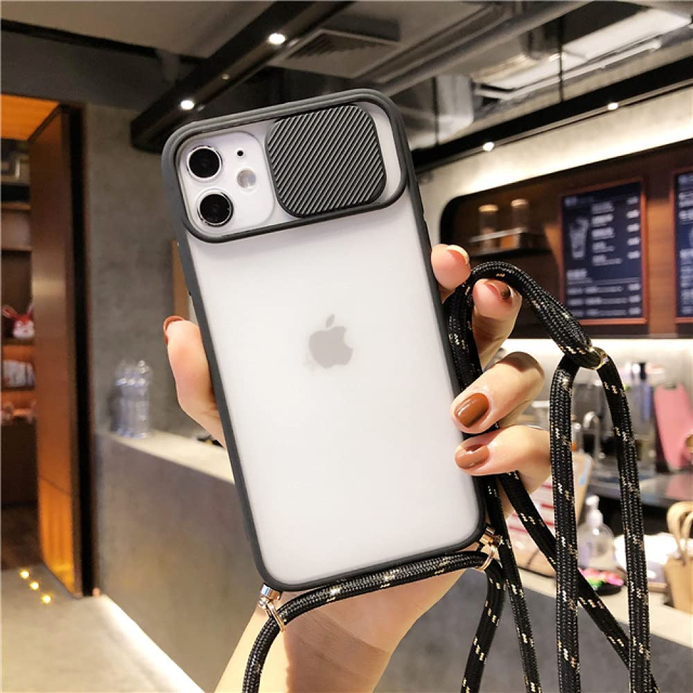 Slide Camera Protector Crossbody Lanyard Strap Case for iPhone 12 11 Pro Max XS Max XR X SE 2020 7 8 Plus Clear Matte Full Cover,Black,for iPhone 7