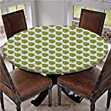 """Elastic Edged Polyester Fitted Table Cover,Diamond Pattern Rectangles Background with Plants Ethnic South American Decorative,Fits up 40""""-44"""" Diameter Tables,The Ultimate Protection for Your Table,App"""