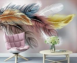 Behang 3D Behang Muurschilderingen Gouden Gekleurde Veren Muurschildering 3D Slaapkamer Behang voor Woonkamer Muur Papier ...