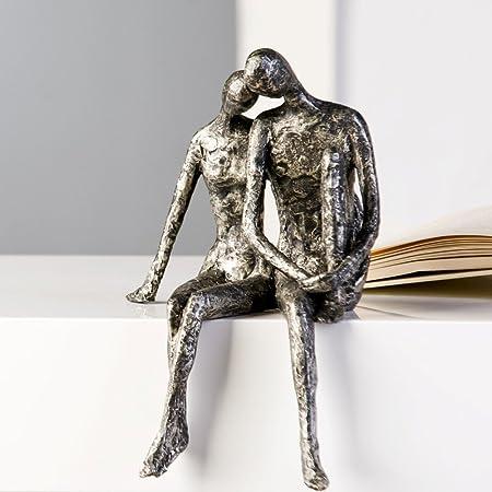 Casablanca Design Sculpture couple assis aspect argent vieilli 25 x 18 cm
