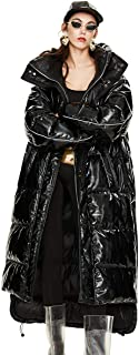 Women's Thickened Metallic 90% White Duck Down Jacket Winter Hooded Long Puffer Coat Maxi Parka
