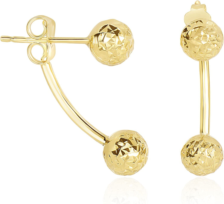 14k Yellow Gold Double Sided Diamond Cut Ball Earrings