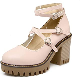 BalaMasa Womens Mule Herringbone Buckle Urethane Pumps Shoes APL10500