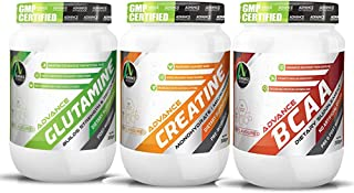 Advance Nutratech Combo of Creatine Monohydrate 300grm + Glutamine 300gm + BCAA 200Gm (Unflavored)