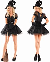 Women's Classic Bewitching Witch Halloween Costume Halloween Classic Black Witch Demon Costume Women Fancy Dress Stage Per...