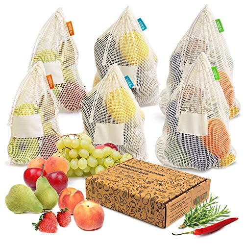 Obst - und Gemüsebeutel aus Baumwolle - Wiederverwendbare Einkaufsnetze - (6er Set) - Plastikfrei Einkaufen - Zero Waste Einkaufstasche // March Brands