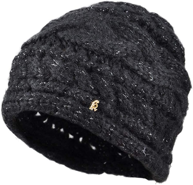 GLJF ニット帽、冬レディースウール暖かい帽子ニット帽黒帽2つの色を選択できます (色 : 黒)