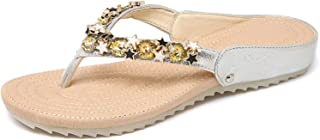 Ling-long Fashion Flip Flops Summer Beach String Bead PU Slippers Ladies Beautiful Flat Shoes for Outside H