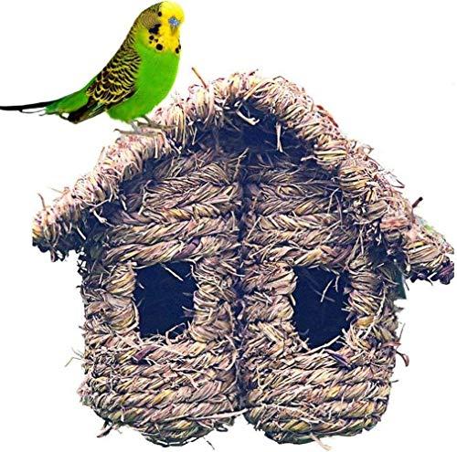 Family in Nistkästen Für Vögel,Natürliche Pflanze Vogelnest,Vögel Käfige Garten Ornament Künstliches Vogelnest Stroh Vogelnest Gewebtes Vogelhaus Für Alle Vogelarten Sicher