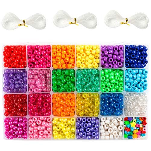 Pony Perlen (Pony Beads) Set, mit 3.300 Stück 9mm Perlen in 23 Farben, inklusive Buchstabenperlen, Sternperlen und elastischer Schnur, zur Herstellung von Perlenarmbändern, hergestellt von INSCRAFT