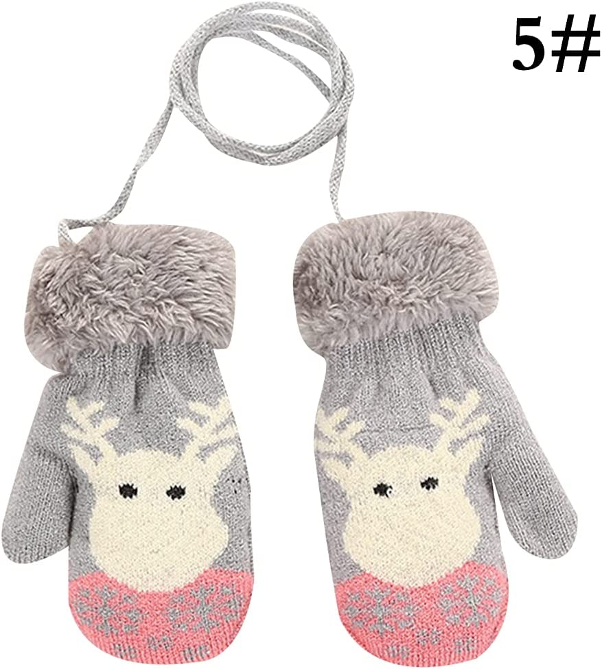 COSYOO Protective Thickened Lovely Knitted Kids Warm Mittens Cute Cute Protective Handmade Hanging Winter Mittens Knit Mittens with Lanyard