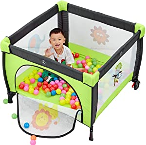 Kids Activity Centre Foldable Children Travel Playpen Portable Indoor and Outdoor Infant Playpen Lightweight Household Protective Crawling Fence with Cushion Height 65 5cm  Size 100x100cm  Safety
