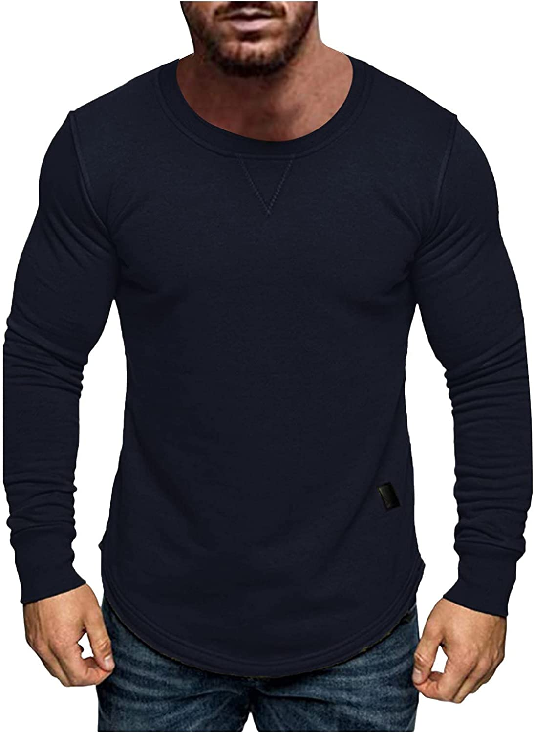 Mens Muscle Shirts Long Sleeve Round Neck Pullover Tops Lightweight Sun Protection Shirt Workout Athletic Quick-Dry Tee