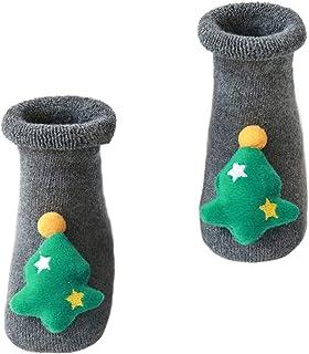 Holibanna, 1 par de calcetines de Navidad para bebé, de felpa, cálidos, de invierno, con elementos de Navidad, antideslizantes, para recién nacidos, para niños y niñas