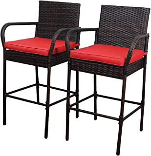 Sundale Outdoor 2 Pcs All Weather Patio Furniture Set Brown Wicker Barstool with Cushions, Back Support and Armrest (Red)