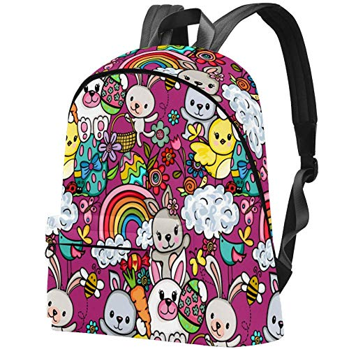 Colourful Rabbit Happy Bunny Bag Teens Student Bookbag Lightweight Shoulder Bags Travel Backpack Daily Backpacks