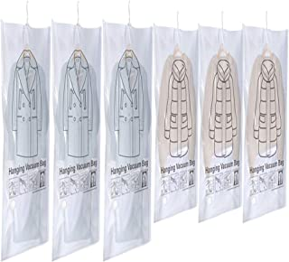 Glorystage 6 Hanging Vacuum Storage Bags for Clothes, 3 Jumbo & 3 Large Space Saver Seal Bags for Coat, Clear Garment Protector for Closet Wardrobe, Fit for Any Vacuum Cleaner, 53