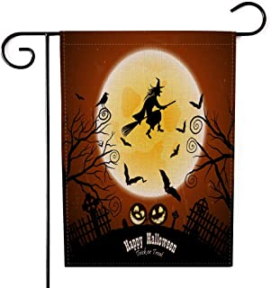 Teepel Halloween 12.5 X 18 Inch Decorative,Garden Flag Happy Halloween with Bats Owl Grave Cemetery Fence Moon Tree and Wi...