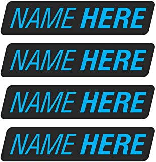 AZ House of Graphics Custom Name Stickers 4 Pack - Blue Text