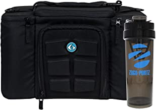 6 Pack Fitness Insulated Meal Prep Bag, Innovator 300 Black/Neon Blue (3 Meal) w/Bonus ZogoSportz Cyclone Shaker