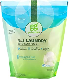 Grab Green Natural 3 in 1 Laundry Detergent Pods, Free & Clear/Unscented, 60 Loads, Fragrance Free, Organic Enzyme-Powered...