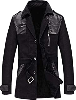 RkBaoye Men Oversized Plus Velvet Notched Lapel Trench Coat Jacket