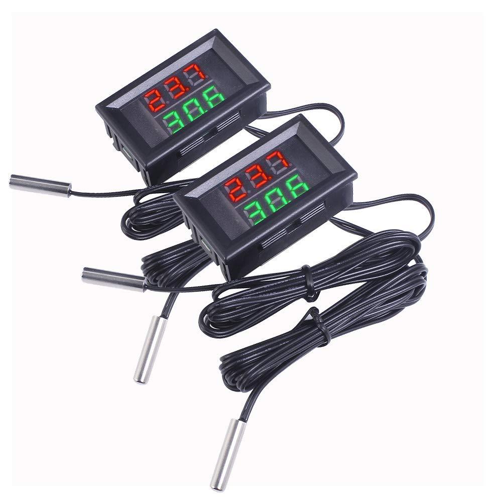 2 St/ück Mini DC 4 28 V Dual Display Digital Thermometer mit NTC Wasserdicht Metall Sonde Temperatur Sensor Tester Auto Zimmer Innen Red+Green