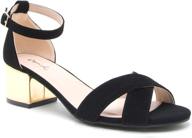 Jaden Criss Cross Black Suede Sandals gold Block Heel