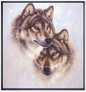 Kreuzstich Stickpackung Stickbild Stickvorlage vorgedruckt Wolf Husky