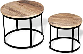 Tidyard 2 Piece Wood Round Coffee Table Set Rough Mango Wood Round,Antique Style 40/50 cm