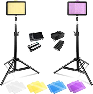 Julius Studio 160 LED, 2 Sets of High Lumen LED Light Panel for DSLR Camera Camcorder with 28 inch Tall Table Top Light Stand, Photography Video Studio, JGG2288