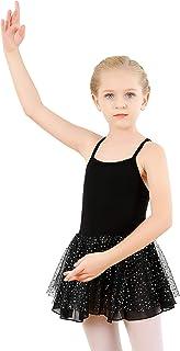 tanzdunsje Mädchen Ballettkleid Ballett Trikot Ballettanzug Kinder Ballettkleidung Tanzkleid Tanzkörper aus Baumwolle mit Chiffon Bling Stars Rock