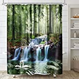 Wasserfall-Duschvorhang Wald Natur Landschaft Schwan Baum Dschungel Lack Badezimmer Set Home Decor Zubehör Schimmelresistenz Stoff Polyester 182,9 x 182,9 cm grün Botanisch