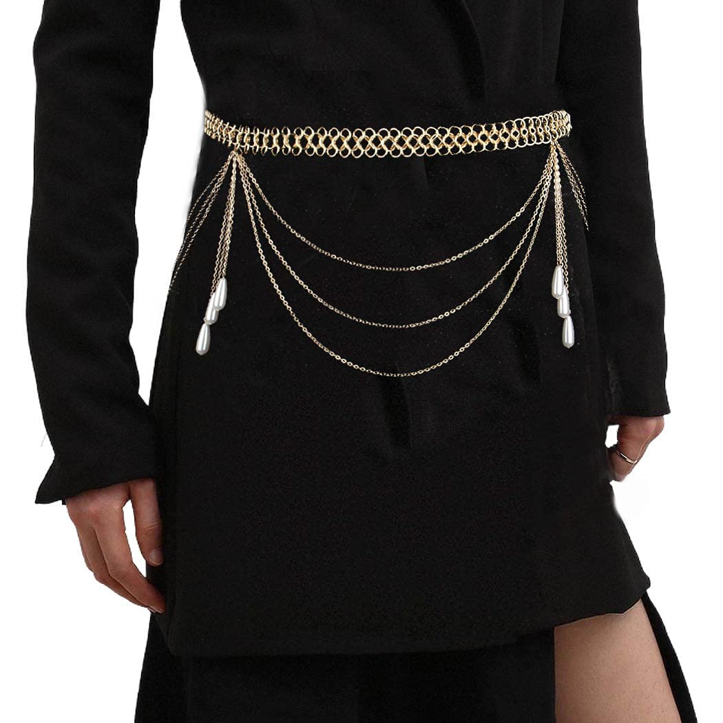 ELABEST Gold Layered Waist Chain Ethnic Oval Loop Pearls Tassels Belly Chain Beach Body Jewelry Accessories for Women and Girls