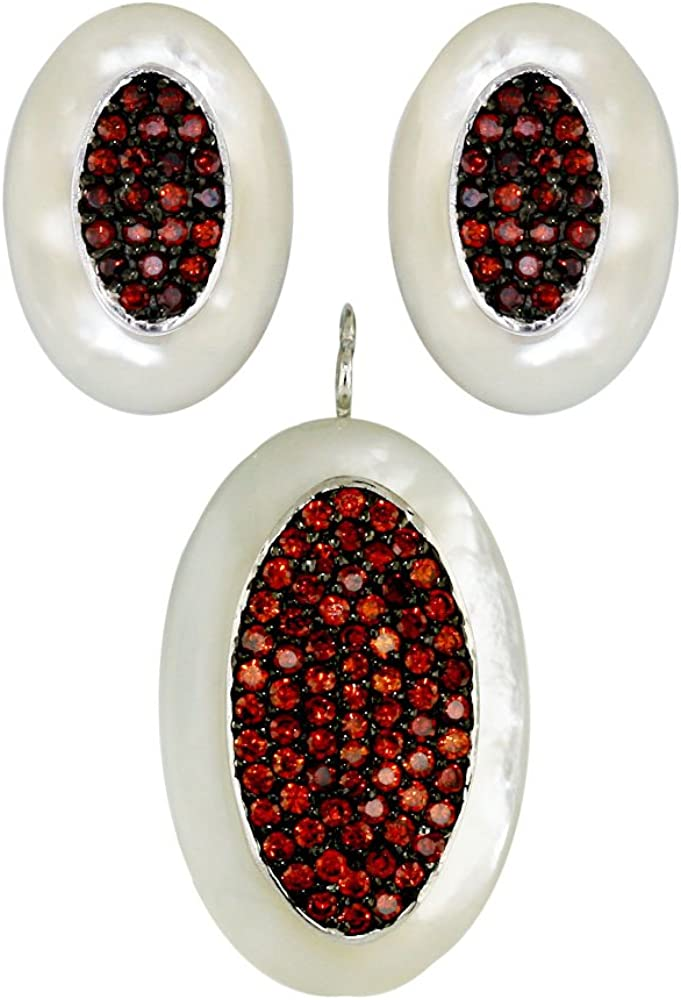 .925 Sterling Silver Mother of Pearl Earrings Direct store Pendan and with CZ Sacramento Mall