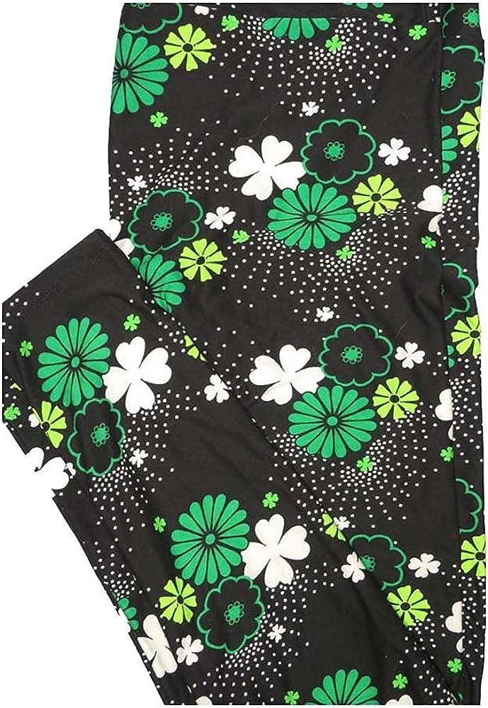 Lularoe Tall Curvy TC Lucky Irish St Patricks Floral Black White Green Shamrock 4 Leaf Clover Leggings fits Women 12-18