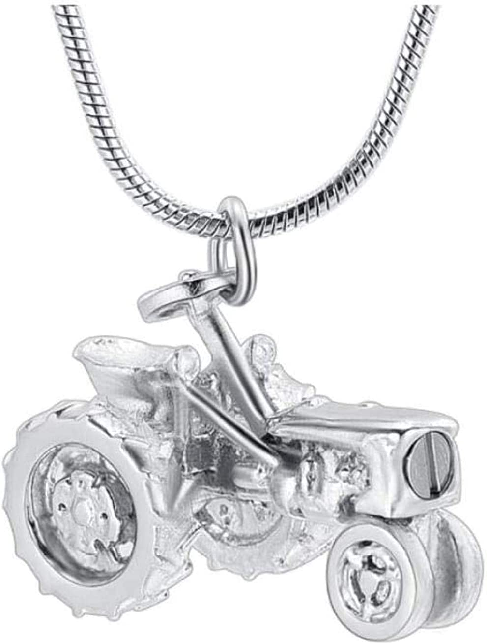 AEGW Cremation Urn Necklace Memorial Jewelry Memorial Necklace Cremation Jewelry Tractor Farm Ashes Necklace for Farmer Stainless Steel Tractor Souvenir