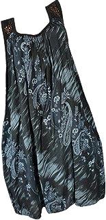 Women's Lace Sleeveless Casual Loose T-Shirt Dress Boho Printing Tank Dress Beach Maxi Dress Mini Sundress