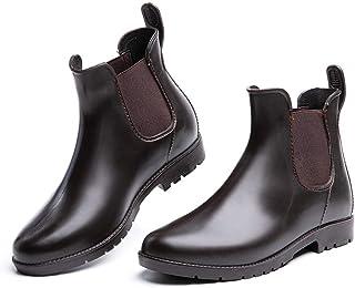 Botas de Agua Mujer Lluvia Botines Jardín Trabajo Antideslizante Tobillo Boots Chelsea Negro Marrón Azul Caqui Número 35-4...