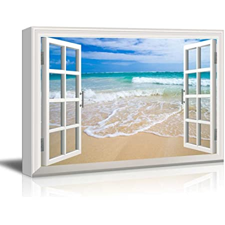 Details about  /WINDOW EFFECT BEACH PRINT WALL ARTS ON DIFFERENT SIZES CANVAS PHOTOS PICTURES