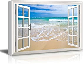 Canvas Print Wall Art - Window Frame Style Wall Decor - Beach and Clear Wave | Giclee Print Gallery Wrap Modern Home Decor. Stretched & Ready to Hang - 24