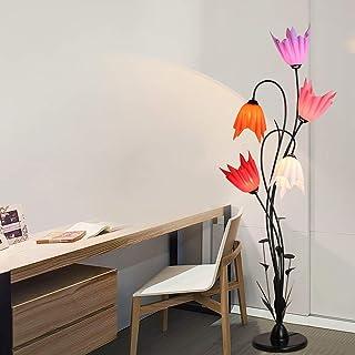 BXZ Lampadaire en métal noir, lampe sur pied à 5 têtes pour salon Lampe haute E27 Design de fleurs créatives, abat-jour en...