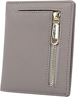 Women Short Small Mini Bifold Wallet Leather Pocket Wallet for Changes ID Coin Cards, Grey