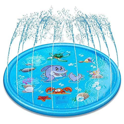 Almohadilla De Salpicaduras para Niños, Alfombra De Juego con Rociadores para Niños Juguetes De Piscina De Agua Al Aire Libre De Verano Piscina Infantil para Niños Pequeños Bebé,Blue-170 cm
