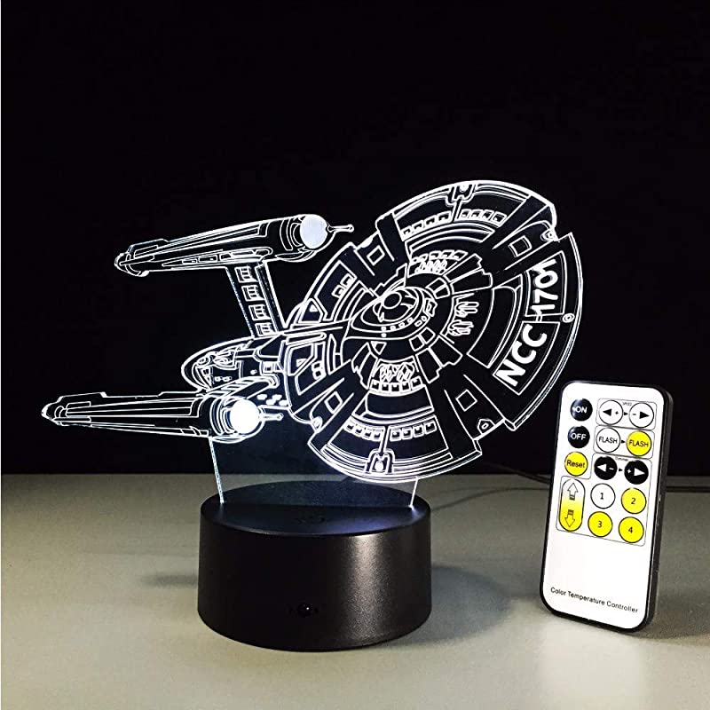 Lifme Lamp Star Trek NCC 1701 Ship Boat 3D Lamp Led Novelty Night Light USB Light Glowing Children Gift With Remote Control