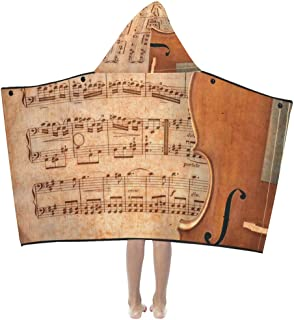 Blanket Kids Cello On Ancient Music Sheet Rusted Old Yellow Pa Kids Hooded Blanket Bath Towels Throw Wrap for Toddler Child Girl Boy Home Travel Sleep Blanket Hoodie Kids