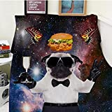 Bedsure Manta franela150x200cmhamburguesa de pugsmanta cama100% Microfibra Extra Suave Cálido Mantas Colcha Sofa Adecuada para Niños y Adultos -L