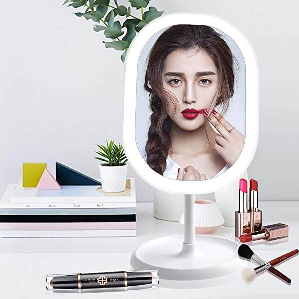 LED Lighted Makeup Mirror With Lights Rechargeable Portable Vanity Mirror Touch Screen Switch 180 Degrees Free Rotation