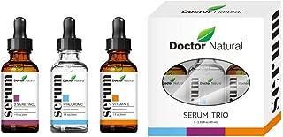 Doctor Natural Anti Aging Set, Vitamin C, Retinol Serum And Hyaluronic Acid For Anti Wrinkle and Dark Circle Remover