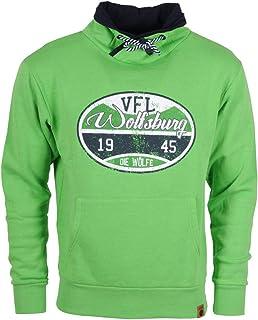 VfL Wolfsburg Offizieller Kapuzenpulli/Pulli/Hoodie Stempel 1945 Die Wölfe Brustprint im Used Look grün Größe S - 4XL